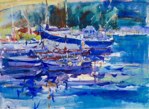 Ville Franche at Dusk 22x30, by Eric Wiegardt
