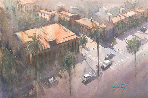 Intersection, watercolor by Keiko Tanabe