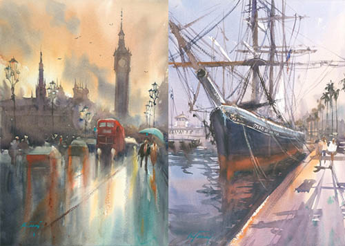 London Sunset II and Star of India, watercolors by Keiko Tanabe